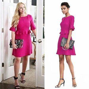 Banana Republic Pink Peplum Ruffle Flounce Dress